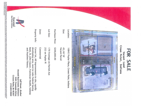 Retail For Sale 10845 Poplar Place Crown Point In